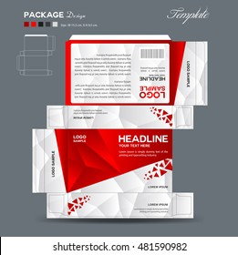 Supplement and Cosmetic box design, packaging design, red polygon background
