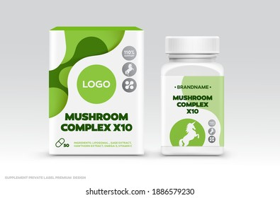 Supplement Food Package Design Template. Private Label Healthy Food Package Design Mockup. Box and Bottle Jar Sticker Mushroom Complex Organic Healthy Supplement Package Design.