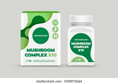 Supplement Food Package Design Template. Private Label Healthy Food Package Design Mockup. Box and Bottle Jar Packaging Sticker Mushroom Complex Organic Healthy Supplement Design Template.