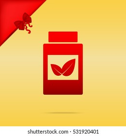 Supplements container sign. Cristmas design red icon on gold background.