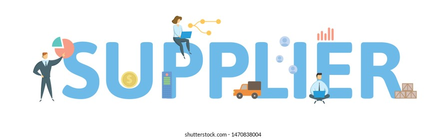 SUPPLIER. Concept with people, letters and icons. Colored flat vector illustration. Isolated on white background.