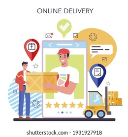 Suppliers online service or platform. B2B idea, global logistic distribution service. Company as a customer, business partnership. Online delivery. Isolated flat vector illustration