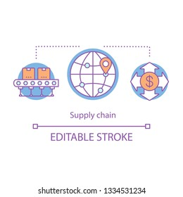 Supply chain concept icon. SCM idea thin line illustration. Logistic, delivery. Global supplying management. Business sustainability, traceability. Vector isolated outline drawing. Editable stroke