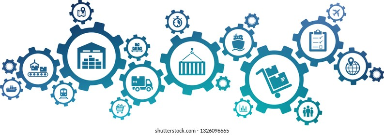 supply chain management icon concept