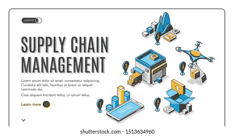 Supply chain management isometric landing page. Drone logistic and cargo transportation steps. Goods delivery process, export, import over world, global trade 3d vector illustration, line art, banner.