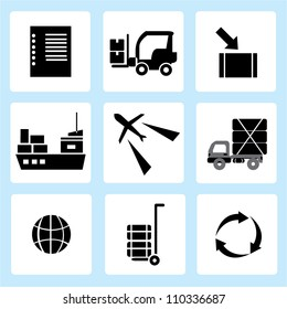 supply chain management, shipping icon set, delivery