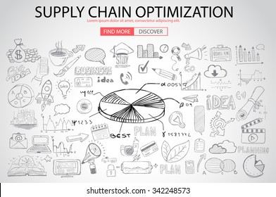 Supply Chain optimization concept with Doodle design style :finding solution, brainstorming, creative thinking. Modern style illustration for web banners, brochure and flyers.