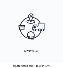 supply chain outline icon. Simple linear element illustration. Isolated line supply chain icon on white background. Thin stroke sign can be used for web, mobile and UI.