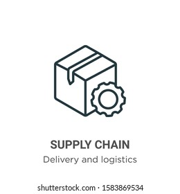 Supply chain outline vector icon. Thin line black supply chain icon, flat vector simple element illustration from editable delivery and logistics concept isolated on white background