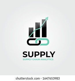 Supply chain, progress chart bars, financial success, vector logo/icon