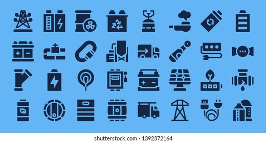 supply icon set. 32 filled supply icons. on blue background style Simple modern icons about  - Electric tower, Battery, Pipe, Barrel, Carabiner, Electrode, Reservoir, Electrical