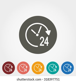 Support 24 hours. Icon for web and mobile application. Vector illustration on a button. Flat design style.