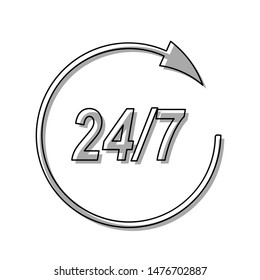 Support 24 hours sign. Black line icon with gray shifted flat filled icon on white background. Illustration.