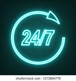 Support 24 hours sign. Cyan neon icon in the dark. Bluring. Luminescence. Illustration.