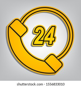 Support 24 hours sign. Flat orange icon with overlapping linear black icon with gray shadow at whitish background. Illustration.