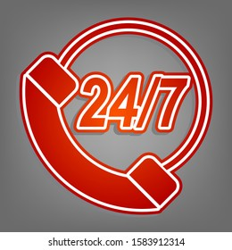 Support 24 hours sign. Flat red icon with linear white icon with gray shadow at grayish background. Illustration.