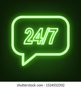 Support 24 hours sign. Green neon icon in the dark. Blurred lightening. Illustration.