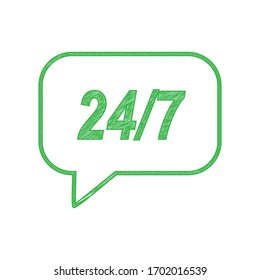 Support 24 hours sign. Green scribble Icon with solid contour on white background. Illustration.