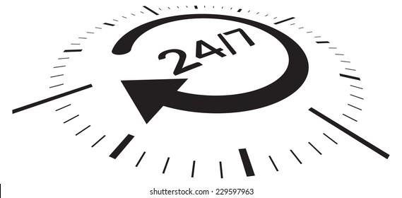 Support 24 X 7 - Illustration