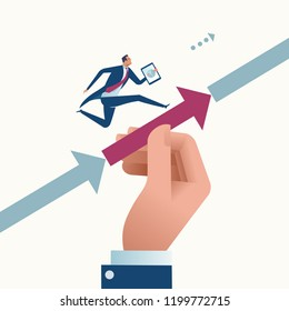 Support. Big hand helps to achieve a target. Business vector concept illustration