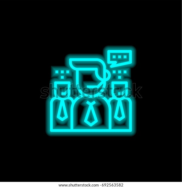 Support blue glowing neon ui ux icon. Glowing sign logo vector