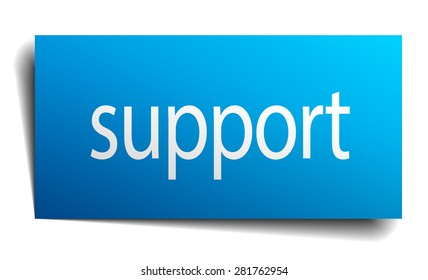 support blue paper sign on white background