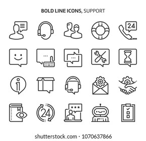Support, bold line icons. The illustrations are a vector, editable stroke, 48x48 pixel perfect files. Crafted with precision and eye for quality.