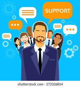 Support Business People Group Technical Team On Line Chat Flat Vector Illustration