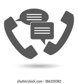 Support, call center handset Icons Quote speech bubble. Frame for text square. Text box vector