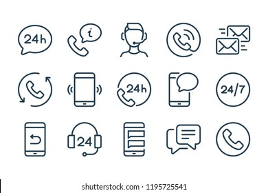 Support and call center line icons. Vector linewar icon set.