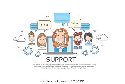 Support Concept Business People Group Technical Team On Line Chat Vector Illustration