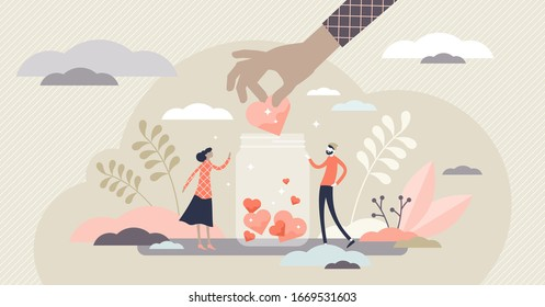 Support concept, flat tiny volunteer persons vector illustration. Donation jar collecting heart symbols with a giving hand. Charity help campaign for social awareness. Generous community people art.
