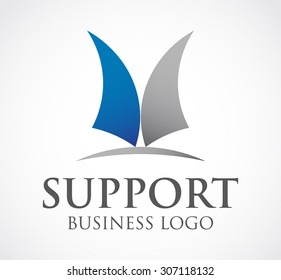 Support curve merge office corporate abstract vector logo design template business teamwork icon grow company identity symbol concept