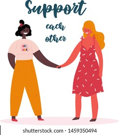 Support each other. Grl pwr. Two young women or girls standing together and holding hands. Group of friends or feminist activists. Feminism, strong woman concept, girl power. Multi-ethnic group. Flat