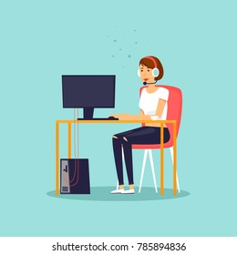 Support girl sitting at the desk working at the computer. Flat design vector illustration.