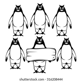 support group penguin icon vector