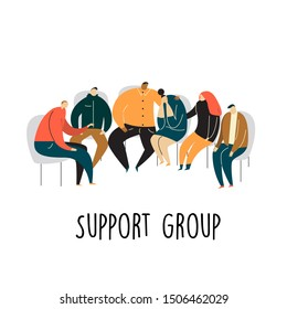 Support group. People sitting on chairs and talking. Psychotherapy concept. Vector cartoon illustration