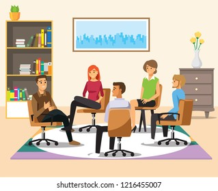 Support group therapy, psychologist counseling people with various phobias vector Illustration