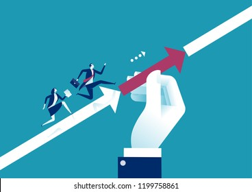 Support. Manager's hand helping his team to achieve target. Business vector concept illustration