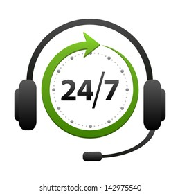 Support and help around the clock or 24 hours a day and 7 days a week icon isolated on white background. Call center vector icon