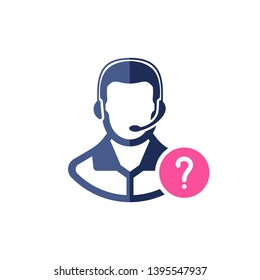 Support icon with question mark. Customer service agent with headset icon and help, how to, info, query symbol