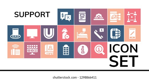 support icon set. 19 filled support icons. Simple modern icons about  - Talk, Smartphone, Phone, Online shop, Faq, Phone booth, Information, Dental, Operator, Blood donation