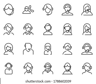 Support icon set. Collection of thin line icons. 20 high quality outline logo on white background. Pack of symbols for design website, mobile app, printed material, etc.