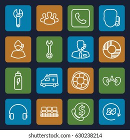 Support icons set. set of 16 support outline icons such as chair, wrench, kidney, headset, ambulance, call, user group, lifebuoy, 24 hours