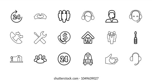 Support icons. set of 18 editable outline support icons: 24 hours, screwdriver, group, ambulance, family home, user group, call, vice clamp, wrench and screwdriver, heart tag