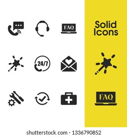 Support icons set with speed phone, magic wand, checkbox reset elements. Set of support icons and help desk concept. Editable vector elements for logo app UI design.