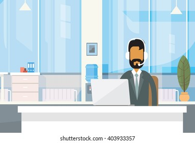 Support Indian Business Man Headphones Call Center Sitting Desk Businessman Office Working Place Laptop Online Flat Vector Illustration