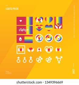 Support LGBT Pride. Colorful icons, rainbow. Heart in hands. LGBT symbol.