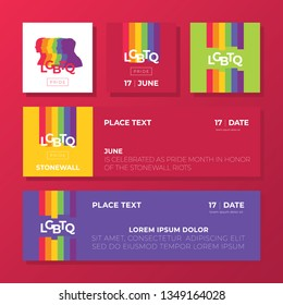 Support for LGBTQ pride. Colorful backgrounds. PeoplesSilhouette. Rainbow abstract. Templates for banners, flyers.