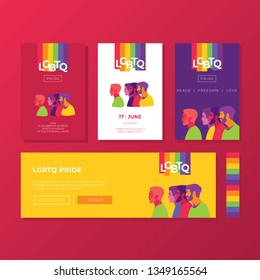 Support for LGBTQ pride. Colorful backgrounds. Peoples silhouette. Rainbow abstract. Templates for banners, flyers.